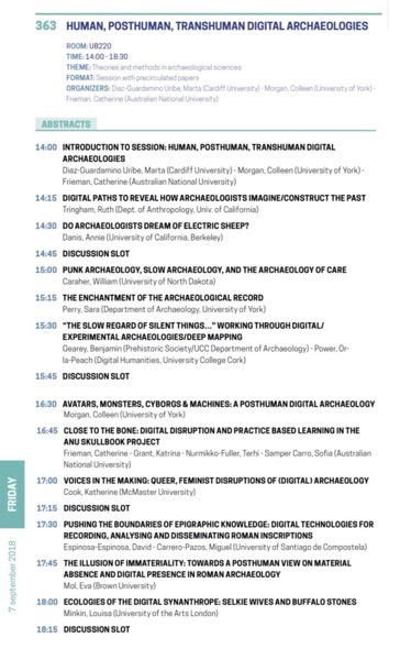 Session schedule human posthuman transhuman digital archaeologies 1
