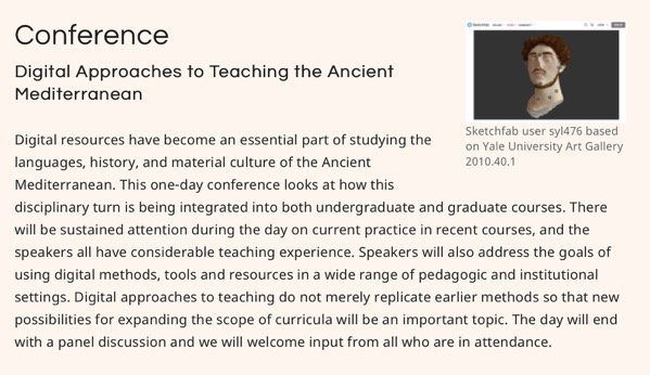 Conference Digital Approaches to Teaching the Ancient Mediterranean  Institute for the Study of the Ancient World 2018 10 25 05 57 48